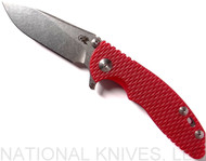 "Rick Hinderer Knives XM-18 SKINNY Slicer Folding Knife, Stonewash 3"" Plain Edge 20CV Blade, Stonewash Lockside, Red G-10 Handle - Tri-Way Pivot"