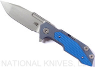 Rick Hinderer Knives Fulltrack Spanto Flipper Knife, Working Finish CPM-S35VN  Plain Edge Blade, Battle Blue Titanium, Blue G-10 Handle - Tri-Way Pivot