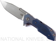 Rick Hinderer Knives Full Track Spanto Flipper Knife, Working Finish CPM-S35VN  Plain Edge Blade, Battle Blue Titanium, Blue - Black G-10 Handle - Tri-Way Pivot