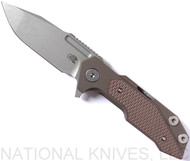 Rick Hinderer Knives Fulltrack Spanto Flipper Knife, Working Finish CPM-S35VN  Plain Edge Blade, Battle Bronze Titanium, FDE G-10 Handle - Tri-Way Pivot