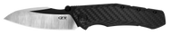 "Zero Tolerance 0850CF Sprint Run Folding Knife, 2-Tone 3.75"" Plain Edge Blade, Black Carbon Fiber Handle"