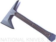 "RMJ Tactical Ragnarok 12 Tomahawk, 3.375"" Forward Edge 80CRV2 Steel, Hyena Brown Handle, Sheath"