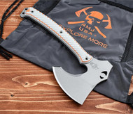 RMJ Tactical Wee Zerker Camp Axe Explore More Edition, Gray and Orange G-10 Handle, Sheath