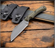 RMJ Tactical Coho Fixed Blade Knife Tungsten 52100 Blade Dirty Olive G10 -Sheath