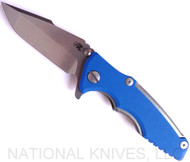 "Rick Hinderer Knives Eklipse 3.0"" Harpoon Spanto Flipper Knife, Stonewashed CPM-S35VN  Plain Edge Blade, Blue G-10 Handle - Tri-Way Pivot"