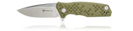 Steel Will Knives Chatbot Folding Knife F14-02, Satin D2 Plain Edge Blade, OD Green G-10 Handle