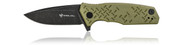 Steel Will Knives Chatbot Folding Knife F14-33, Black Stonewash D2 Plain Edge Blade, OD Green G-10 Handle