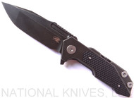 Rick Hinderer Knives Fulltrack Spanto Flipper Knife, Battle Black CPM-S35VN  Plain Edge Blade, Battle Black Titanium, Black G-10 Handle - Tri-Way Pivot