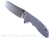 "Rick Hinderer Knives XM-18 SKINNY Sheepsfoot Folding Knife, Stonewash 3.5"" Plain Edge 20CV Blade, Stonewash Lockside, Gray G-10 Handle - Tri-Way Pivot"