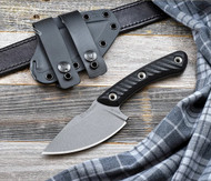 RMJ Tactical Nomad Fixed Blade Knife, 52100 Steel Plain Edge Blade, Black G-10, Sheath