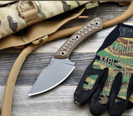 RMJ Tactical Nomad Fixed Blade Knife, 52100 Steel Plain Edge Blade, Hyena Brown G-10, Sheath