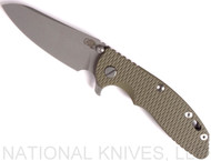 "Rick Hinderer Knives XM-18 SKINNY Sheepsfoot Folding Knife, Working Finish 3.5"" Plain Edge 20CV Blade, Working Finish Lockside, OD G-10 Handle - Tri-Way Pivot"