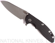 "Rick Hinderer Knives XM-18 SKINNY Sheepsfoot Folding Knife, Working Finish 3.5"" Plain Edge 20CV Blade, Working Finish Lockside, Black G-10 Handle - Tri-Way Pivot"