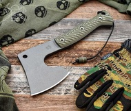 "RMJ Tactical Bushcrafter Axe, 3.75"" Forward Edge, Dirty Olive G-10 Handle, Sheath"