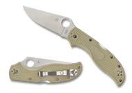"Spyderco Stretch 2 Sprint Run C90FPIV2 Folding Knife, 3.437"" Plain Edge Blade, Ivory FRN Handle"