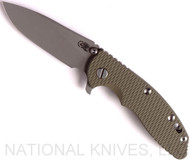 "Rick Hinderer Knives XM-18 Slicer Folding Knife, Working Finish 3.5"" Plain Edge 20CV Blade, Working Finish Lockside, Olive Drab G-10 Handle - Tri-Way Pivot"