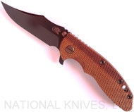 "Rick Hinderer Knives Vintage Series XM-18 Bowie Folding Knife, Black 3.5"" Plain Edge O-1 Blade, Battle Green Lock Side, Textured Walnut Handle"