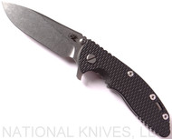 "Rick Hinderer Knives XM-18 Slicer Folding Knife, Stonewash 3.5"" Plain Edge 20CV Blade, Stonewash Lockside, Black G-10 Handle - Tri-Way Pivot"