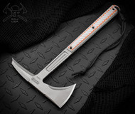 "RMJ Tactical Explore More Kestrel Feather Tomahawk, 2.937"" Forward Edge 1075, Gray and Orange Handle, Sheath"
