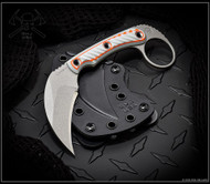 "RMJ Tactical Explore More Korbin Karambit Fixed Blade Knife, 3"" Plain Edge Nitro-V Blade, Gray and Orange G-10, Kydex Sheath"