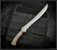 "RMJ Tactical Drake Fixed Blade Knife, 11.25"" Plain Edge CPM-3V Blade, Hyena Brown G-10, Kydex Sheath"
