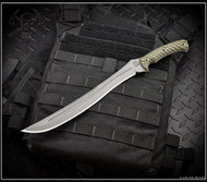 "RMJ Tactical Drake Fixed Blade Knife, 11.25"" Plain Edge CPM-3V Blade, Dirty Olive G-10, Kydex Sheath"