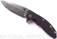 "Rick Hinderer Knives XM-18 Spanto Folding Knife, Stonewash 3.5"" Plain Edge 20CV Blade, Stonewash Lockside, Black G-10 Handle - Tri-Way Pivot"