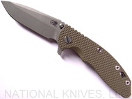 "Rick Hinderer Knives XM-18 Spanto Folding Knife, Working Finish 3.5"" Plain Edge 20CV Blade, Working Finish Lockside, OD Green G-10 Handle - Tri-Way Pivot"
