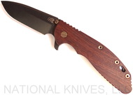 "Rick Hinderer Knives Vintage Series XM-24 Spearpoint Folding Knife, Black 4.0"" Plain Edge O-1 Blade, Battle Green Lock Side, Smooth Walnut Handle"