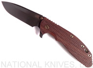 "Rick Hinderer Knives Vintage Series XM-24 Spearpoint Folding Knife, Black 4.0"" Plain Edge O-1 Blade, Battle Green Lock Side, Textured Walnut Handle"