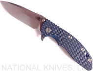 "Rick Hinderer Knives XM-18 Spanto Folding Knife, Stonewash 3.5"" Plain Edge 20CV Blade, Anodized Blue Lockside, Blue / Black G-10 Handle - Tri-Way Pivot"