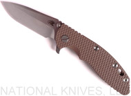 "Rick Hinderer Knives XM-18 Spanto Folding Knife, Stonewash 3.5"" Plain Edge 20CV Blade, Anodized Bronze Lockside, Flat Dark Earth G-10 Handle - Tri-Way Pivot"