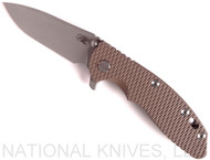 "Rick Hinderer Knives XM-18 Spanto Folding Knife, Working Finish 3.5"" Plain Edge 20CV Blade, Battle Bronze Lockside, Flat Dark Earth G-10 Handle - Tri-Way Pivot"