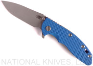 "Rick Hinderer Knives XM-18 Spanto Folding Knife, Working Finish 3.5"" Plain Edge 20CV Blade, Battle Blue Lockside, Blue G-10 Handle - Tri-Way Pivot"