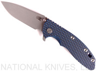 "Rick Hinderer Knives XM-18 Spanto Folding Knife, Working Finish 3.5"" Plain Edge 20CV Blade, Battle Blue Lockside, Blue - Black G-10 Handle - Tri-Way Pivot"