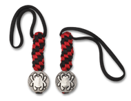 Spyderco Lanyard BEAD5LY, Solid Pewter Flat Bead, Black and Red Paracord