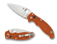 "Spyderco Manix 2 Sprint Run C101GPBORE2 Folding Knife, 3.375"" Plain Edge REX 45 Blade, Burnt Orange G-10 Handle"