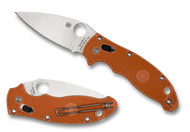 "Spyderco Manix 2 Sprint Run C101PBORE2 Folding Knife, 3.375"" Plain Edge REX 45 Blade, Burnt Orange FRCP Handle"