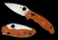 "Spyderco Manix 2 Sprint Run C101PBORE2 Folding Knife, 3.375"" Plain Edge REX 45 Blade, Burnt Orange FRCP Handle"