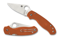 Spyderco Para 3 Lightweight Sprint Run C223PBORE Folding Knife, Satin REX 45 Plain Edge Blade, Burnt Orange FRN Handle