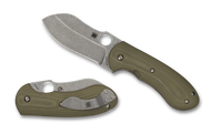 Spyderco Bombshell Flash Batch C250GTIP Folding Knife, Plain Edge 20CV Blade, Green G-10 Handle