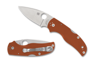 "Spyderco Native 5 Sprint Run C41GPBORE5 Folding Knife, 3"" Plain Edge REX 45 Blade, Burnt Orange G-10 Handle"
