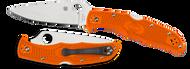 "Spyderco Endura 4 C10FPOR Folding Knife 3.812"" Plain Edge Blade, Orange FRN Handle"