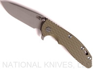 "Rick Hinderer Knives XM-18 Spear Point Folding Knife, Working Finish 3.5"" Plain Edge 20CV Blade, Battle Bronze Lockside, Olive Drab Green G-10 Handle - Tri-Way Pivot"