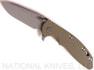 "Rick Hinderer Knives XM-18 Spear Point Folding Knife, Working Finish 3.5"" Plain Edge 20CV Blade, Battle Bronze Lockside, Olive Drab Green G-10 Handle - Tri-Way Pivot"