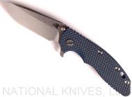 "Rick Hinderer Knives XM-18 Spear Point Folding Knife, Stonewashed 3.5"" Plain Edge 20CV Blade, Anodiezed Blue Lockside, Blue - Black G-10 Handle - Tri-Way Pivot"