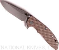 "Rick Hinderer Knives XM-18 Spear Point Folding Knife, Stonewashed 3.5"" Plain Edge 20CV Blade, Anodiezed Bronze Lockside, FDE G-10 Handle - Tri-Way Pivot"