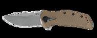Zero Tolerance 0308 Flipper Folding Knife, Stonewashed CPM-20CV Plain Edge Blade, Tan G-10 Handle