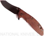 "Rick Hinderer Knives XM-18 Vintage Series Skinner Folding Knife, 3.5"" Black O-1 Plain Edge Blade, Battle Green Lock Side,  Textured Walnut Handle"