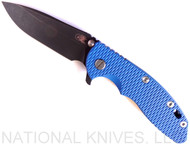 "Rick Hinderer Knives XM-18 Spear Point Folding Knife, Battle Black 3.5"" Plain Edge 20CV Blade, Battle Black Lockside, Blue G-10 Handle - Tri-Way Pivot"